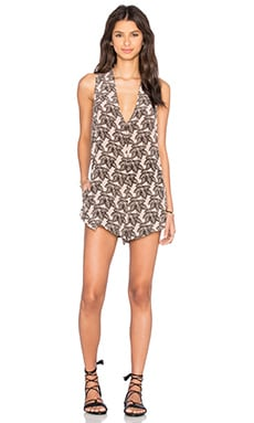 Acacia Swimwear Haiku Silk Romper in Black Elephant
