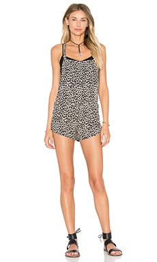 Acacia Swimwear Snapper Romper in Snow Leopard