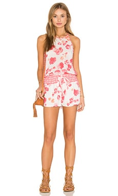 YFB CLOTHING Bella Romper in Coral Rose