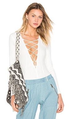 YFB CLOTHING Lace-up Bodysuit in White
