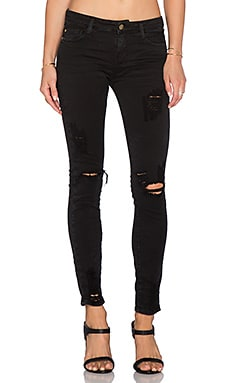 Acquaverde Skinny Jean in Ripped Black Stone