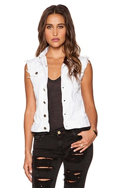 Loris Denim Vest in Destroy White