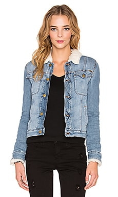 Acquaverde Shearling Denim Jacket in Denim Blue worn