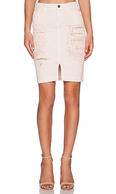 Acquaverde Naomie Distressed Skirt in Pale Pink Destroy