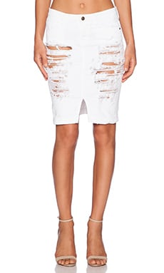 Naomie Denim Pencil Skirt in White