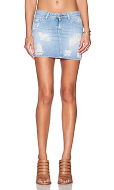 Acquaverde Claudia Distressed Mini Skirt in Light Used Destroy