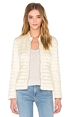 Reversible Down Jacket en Blanc Antique & Imprimé Fleur