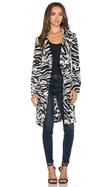 Single Breasted Trench Coat in Black Zebra
