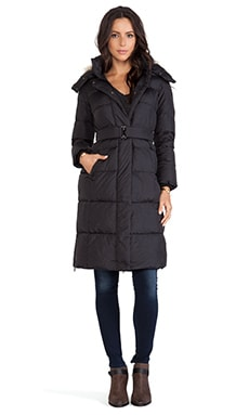 ADD Down Long Coat with Fur Border in Black