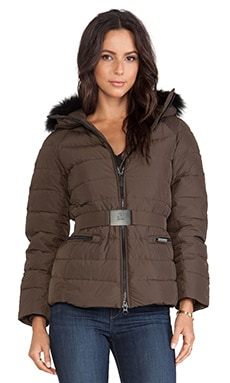 ADD Down Jacket with Asiatic Raccoon Fur Hood in Urban Green