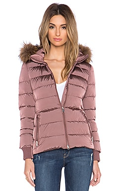 ADD Down Jacket with Raccoon Fur Border in Dusty Rose