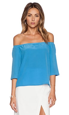 ADDISON Dudley Off Shoulder Top in Sky