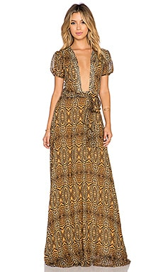 ADRIANA DEGREAS Deco Zebra Print Maxi Dress in Beige
