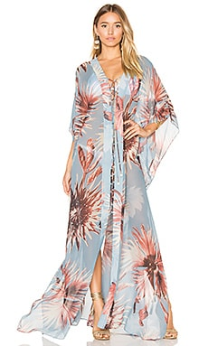 Maxi Flower Kaftan in Antique Blue