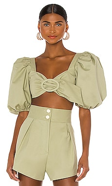 Muguet Solid Cropped Blouse ADRIANA DEGREAS $360