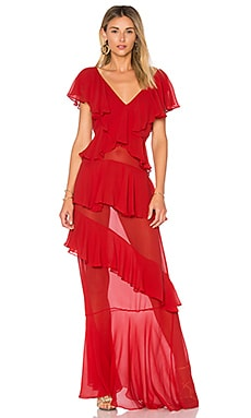 Silk Ruffle Dress en Rouge