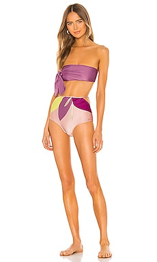 Colorful Flowers Hot Pant Side Knot Bikini Set ADRIANA DEGREAS $274 Collections