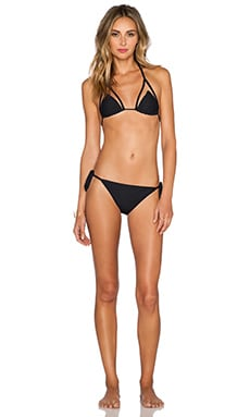 ADRIANA DEGREAS Tulle Detail Bikini Set in Black