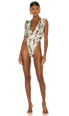 Muguet Ruffled High Leg One Piece ADRIANA DEGREAS $360 BEST SELLER