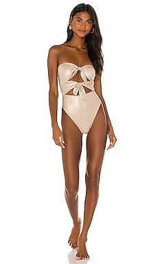 Metallic Strapless Double Knot One Piece ADRIANA DEGREAS $380