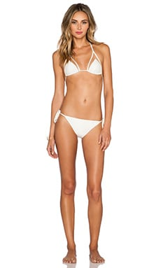 ADRIANA DEGREAS Tulle Detail Bikini Set in Off White