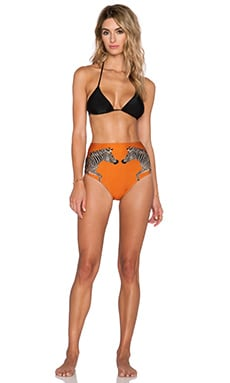 ADRIANA DEGREAS Localized Zebra Print Hot Pant Bikini Set in Orange
