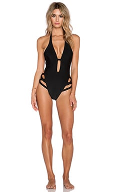 ADRIANA DEGREAS Stripe Detail Halter Swimsuit in Black