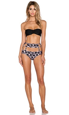 ADRIANA DEGREAS Deco Panther Print Tulle Detail Hot Pant Bikini Set in Rose & Black