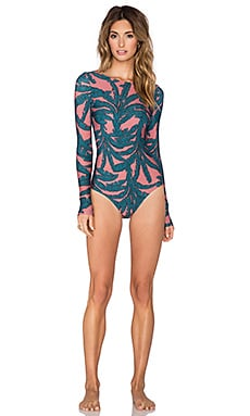ADRIANA DEGREAS Deco Leaves Print Swimsuit in Blush