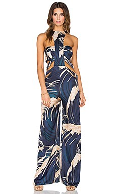 ADRIANA DEGREAS Big Rider Print Jumpsut in Blue Navy