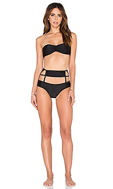 Tulle Detail Hot Pants Bikini in Black
