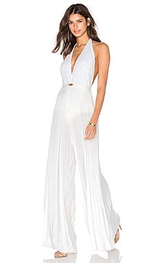 Lips Pleated Jumpsuit in Off White