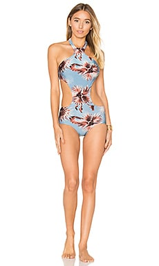 Maxi Flower Cut Out Swimsuit in Antique Blue