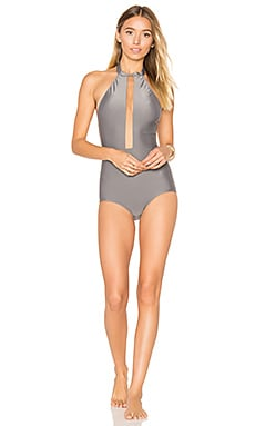 Halter Neck Swimsuit with Tulle
