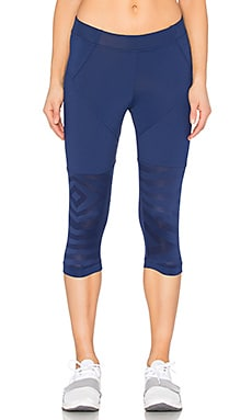 adidas by Stella McCartney Studio Zebra 3/4 Legging in Dark Blue
