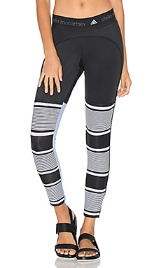 adidas by Stella McCartney Studio Clima Stripe Tight in Black White & Prism Blue