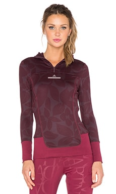 adidas by Stella McCartney Essentials Hooded Long Sleeve in Pomegranate & Dark Wine