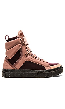 adidas by Stella McCartney Essentials Mid Cut Hi-Top Shoe in Pomegrante & Tanned Sand & Grape Wine