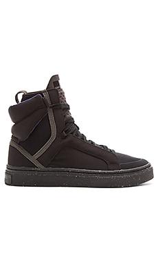 adidas by Stella McCartney Essentials Mid Cut Hi-Top Shoe in Black & Black Gum