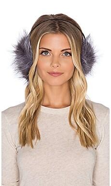Adrienne Landau Fox Ear Muffs in Natural Silver