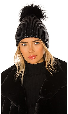 Metallic Pom Hat Adrienne Landau $75