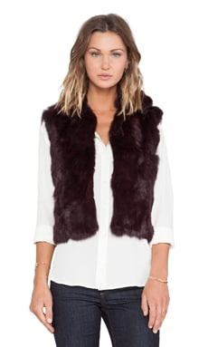 Adrienne Landau Textured Rabbit Fur Vest in Merlot