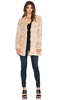 Adrienne Landau Knit Rex Rabbit Fur Coat in Beige