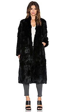 Adrienne Landau Rabbit Fur Duster Coat in Black