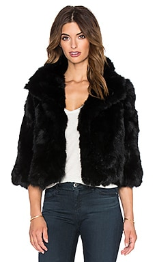 Adrienne Landau Cropped Rabbit Fur Jacket in Black