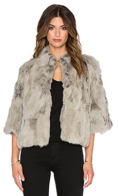 Adrienne Landau Textured Rabbit Fur Jacket in Lt. Grey
