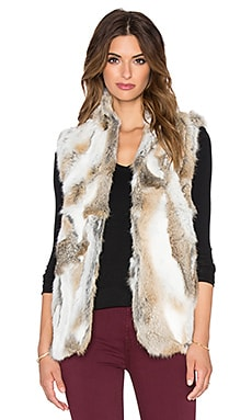 Adrienne Landau Textured Rabbit Fur Vest in Natural Brown