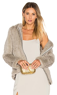 Knit Rabbit Fur Hoodie in Grey