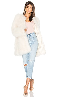 Marabou Feather Coat in Beige