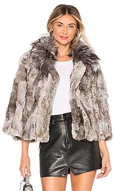 Fur Collar Rabbit Jacket Adrienne Landau $595